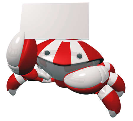 Crab robot holding business card or sign with blank copy space. photo