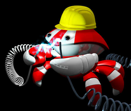 Scutter crab robot repairing a power cable, good technologies and professional repair concept. Stock Photo - 11134687