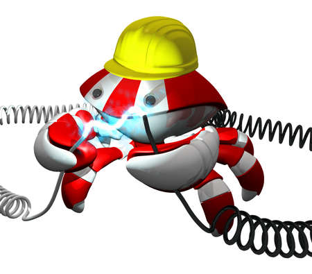 Scutter crab robot repairing a power cable, good technologies and professional repair concept. photo