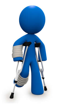 crutch: Crutches and cast, 3d man injured. He will be better soon, since he is made of plastic.  Stock Photo
