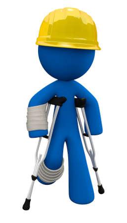 veiligheid bouw: Concept in veiligheid op de werkplek. 3D man draagt een gele harde hoed met krukken en gips. Stockfoto