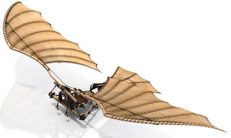 The classic Leonardo Da Vinci flying machine, otherwise known as an ornithopter. Let your dreams take flight! Give lift to your design. Stock Photo