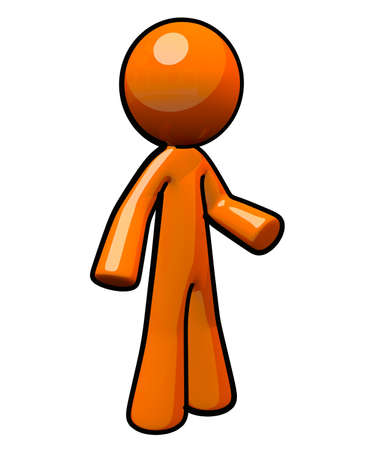 orange man: A cute bright little orange man, in a neutral and interesting pose effective for your design.