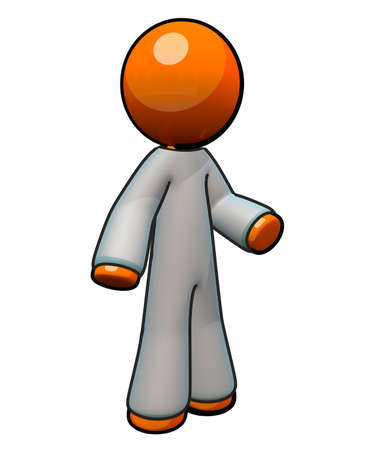family practitioner: Coveralls for medical  surgery purposes. Modeled on 3d orange man.