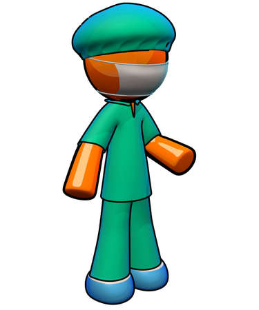 family practitioner: Scrubs, face mask, protective shoe covers. Ready to operate! The orange man is on the job.