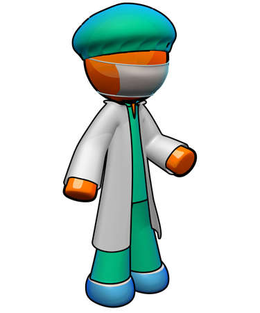 family practitioner: An orange man doctor ready for surgery, with scrubs, face mask, bouffant, and protective shoe covers. Lab coat for good measure. Stock Photo