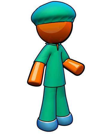 examenes de laboratorio: Naranja enfermera hombre con matorrales dispuestos a ayudar. Foto de archivo