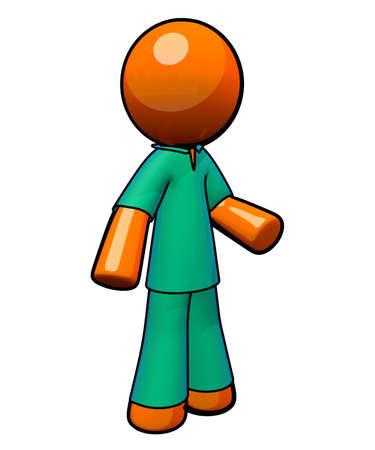 examenes de laboratorio: Un hombre de color naranja uso de delantales. Foto de archivo