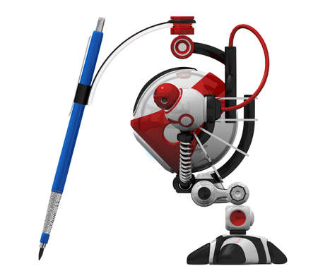 orthographic: Designer robot with mechanical pencil orthographic viewed from side. Stock Photo