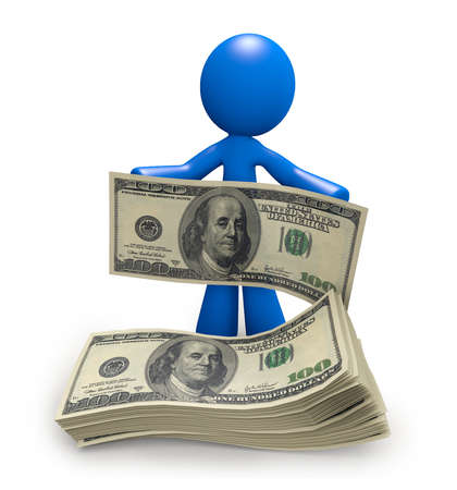reserves: Blue man with a stack of one hundred dollar bills, newfound wealth. Stock Photo