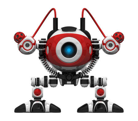 cybernetics: Webcrawler Robot frontal orthographic view. This is a search and searchability concept in webcrawling.