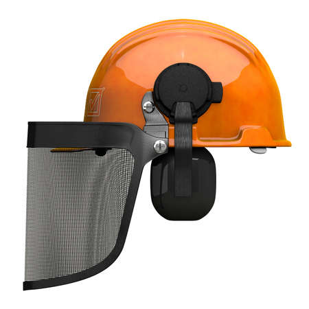 orthographic: A hard hat with a visor which is used for landscaping and general face protection. Side orthographic view.