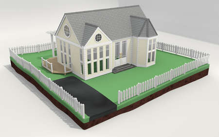 acquire: 3d illustration of a new home with a picket fence, removed from earth and placed on backdrop.