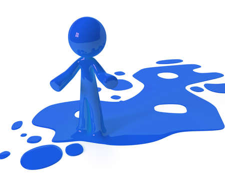 ink spill: Person emerging from puddle of colored paint, ink, or liquid. Stock Photo