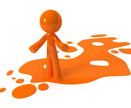 spilled paint: Person emerging from puddle of colored paint, ink, or liquid. Stock Photo