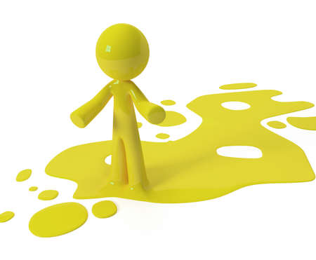 Person emerging from puddle of colored paint, ink, or liquid. Stock Photo
