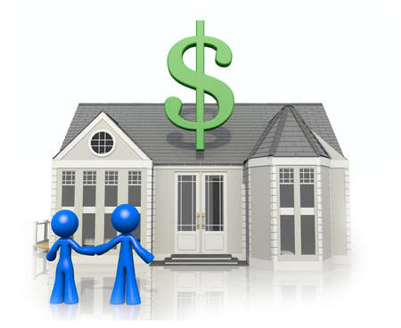 acquire: Happy couple looking at a potential home purchase in modern economy. Stock Photo