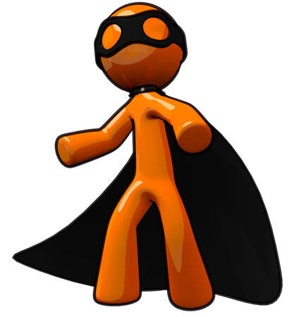 inconvenience: Orange man thief or super-villain on the prowl ready to cause mahem and inconvenience everywhere he pleases. Stock Photo