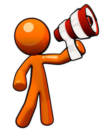 loud: Broadcasting and communications image. Orange man with megaphone.