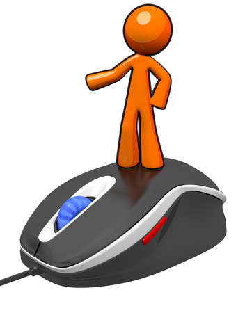 Orange man standing on mouse, presenting something. Technology concept. photo