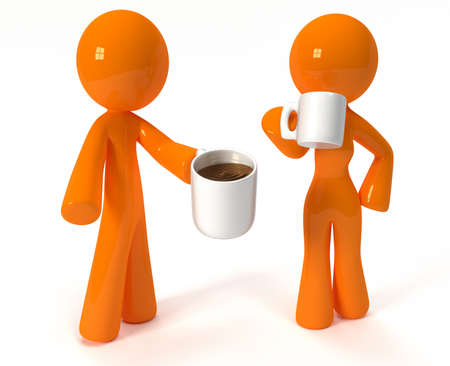 3d orange man and woman drinking coffee on their lunch break, or breakfast.