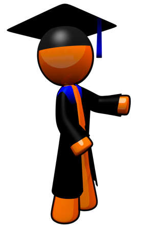 An orange man graduate. He is wearing his graduation robe. photo