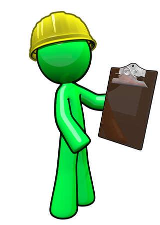 Green man contractor holding clipboard. Banco de Imagens