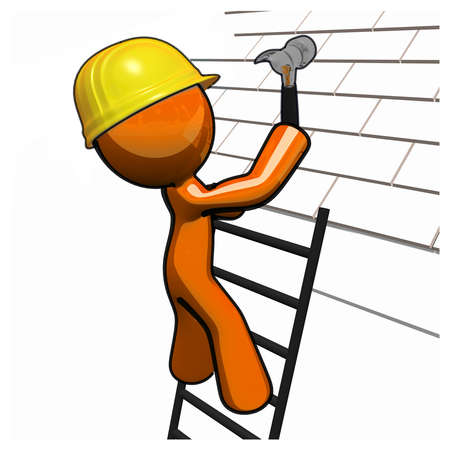 roofer: Orange man with ladder and hammer and hard hat, roofing.
