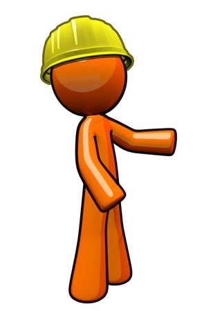 Orange Man contractor with hard hat. Stock Photo
