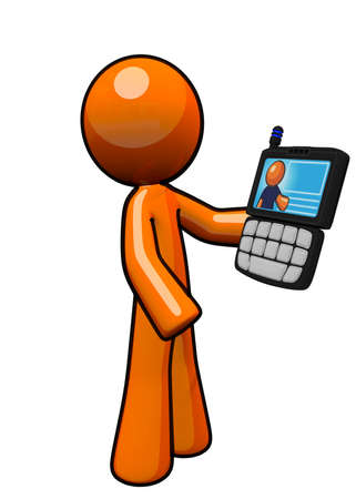 phone: An orange man holding a pda smart phone Stock Photo
