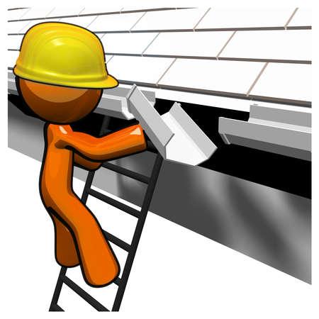 gouttière: 3d Orange Man travaille sur les goutti�res.