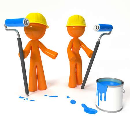 pintor de casas: Hombre de color naranja y una mujer pintores con pinturas, rodillos para pintar, y cascos. Foto de archivo