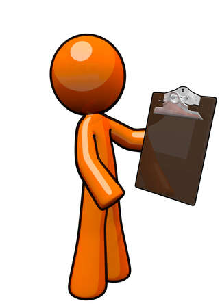 he: Orange man with clipboard. He is a supervisor.