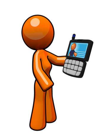 orange industry: An orange woman holding a smart phone PDA