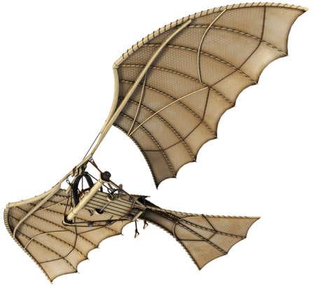 aeronautical: Da vinci flyingmachine ornithopter 3d concept.