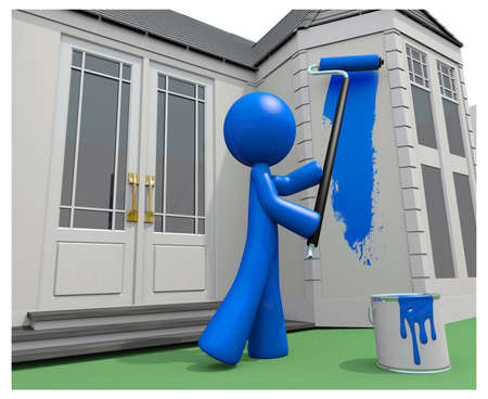 Blue man painting his house, 3d.
