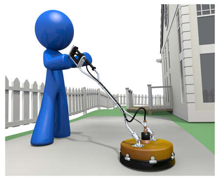 cleaning service: 3d Blue man using concrete cleander on driveway.