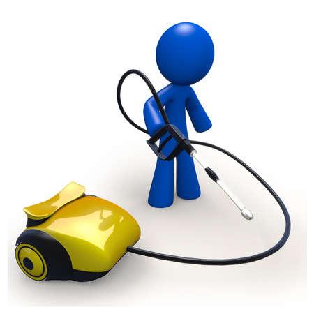 세탁기: 압력 세탁기, 파란 남자, 3D 이미지. 스톡 사진