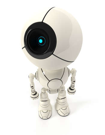 cybernetic: Webcam robot viewed from the top. Big head, one eye. Shiny and cute.
