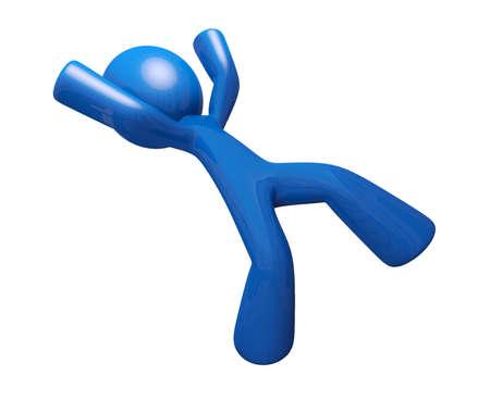 maldestro: Man 3D Blu cadere e la ricezione di illustrazione lesioni.