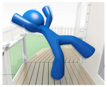 recieving: 3d Blue Man falling down and recieving injury illustration.