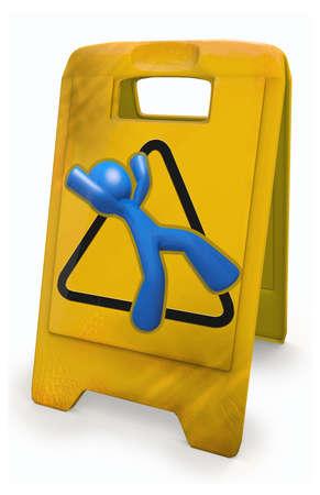 """clumsy: 3d Blue Man e un cartello giallo cautela. Rappresentazione interessante della secolare """"attenzione a non scivolare"""" segno. Archivio Fotografico"""