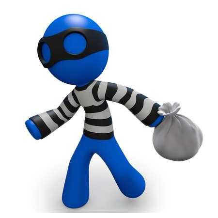 Ladrón 3d hombre azul corriendo con una bolsa de bienes robados. Foto de archivo - 11134600