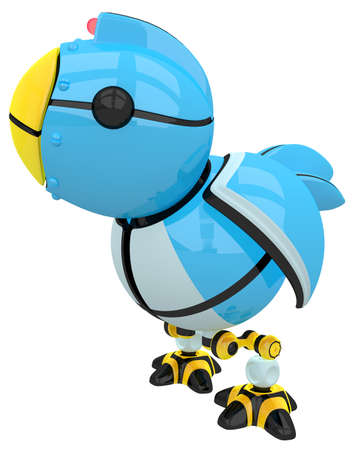 tweet: Little blue social networking and networking bird, robot character. Stock Photo
