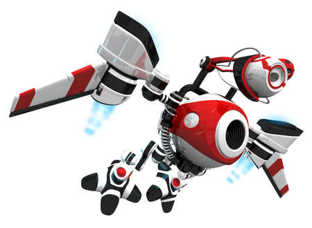 nanotechnology: Webcrawler concept robot, flying to next job to index or search new content.