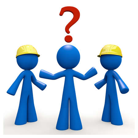 Which contractor? A 3d blue man wonders which contractor he will use for the job. photo