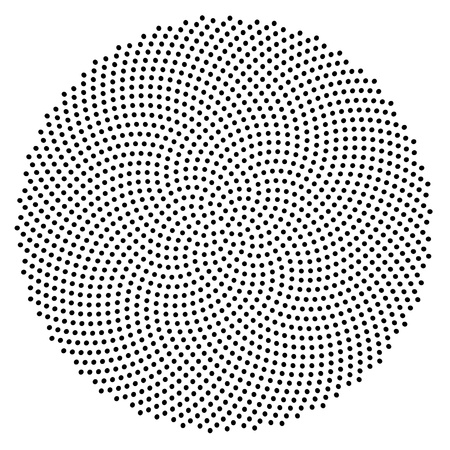 spirals: 1597 dots generated in golden ratio spiral, positions accurate to 10 digits.1597 is a fibonacci number as well. Stock Photo