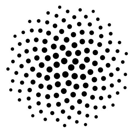Computer generated dot spiral pattern background. Use as mask or design element. Stock Photo