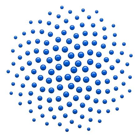 golden ratio: Generado por ordenador en 3D de puntos de fondo de espiral. Azul.