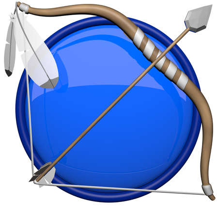 longbow: Icon of bow and arrow, 3d render. Stock Photo